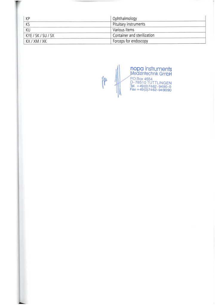 Thư uỷ quyền hãng Nopa Instruments- Đức